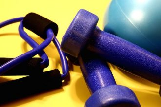 Exercise equipment including a turquoise rubber ball